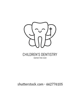 Vector children's dentistry symbol icon in trendy linear style. Dental clinic logo. Editable strokes