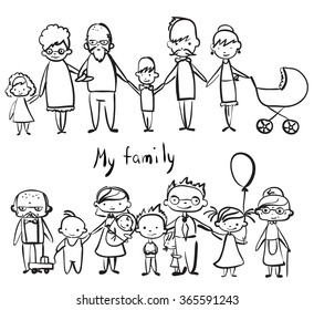 Vector children's doodle of happy family.
