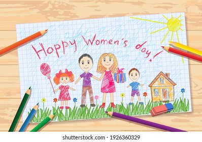 Vector children's drawing for International Women's Day on March 8. The child drew with colored pencils a happy family on the green grass in flowers near the house. Drawing lesson for the holiday