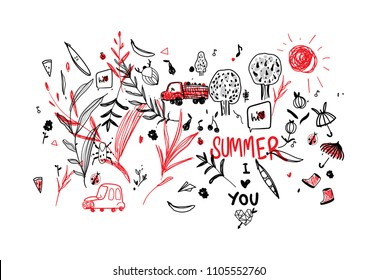 vector children's drawing I love summer with beetles, berries, a truck, a cloud, a beetle, a car. Funny children's style. Uneven lines. cute little peas with eyes, umbrellas and galoshes, berries