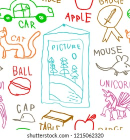 Vector childrens drawings sketch white seamless background with color doodles kid's hand drawn painting art cartoon elements: picture, ball, cat, car, mouse, table, cap, unicorn, apple and badge.