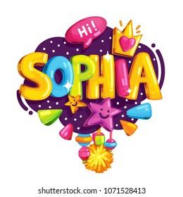 Vector children's emblem of Sophia. Name illustration for the girl. Color print