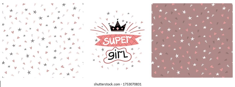 Vector children's graphic printing set with super girl lettering and seamless pattern with hearts and stars on a colored background. Graphics for t-shirts, fabrics, textiles, pajamas, printing, gifts
