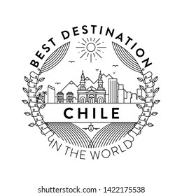 Vector Chile City Badge, Linear Style
