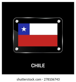 Vector Chile Flag glass plate with metal holders - Country name label in bottom