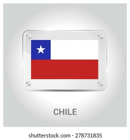 Vector Chile Flag glass plate with metal holders - Country name label in bottom - Gray background vector illustration