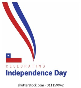 Vector Chile Independence Day 18 September Celebration Card. flag lines creative lines.  Illustration