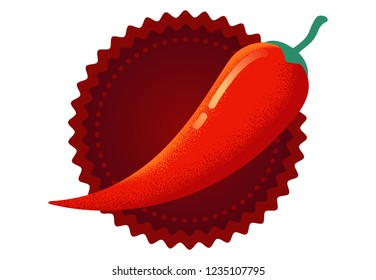 Vector chilli pepper in retro style. Vector vintage emblem with red chili pepper. Chilli logo