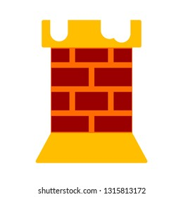 vector chimney illustration - fireplace chimney symbol, brick element