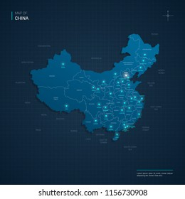 Vector China map illustration with blue neon lightpoints - triangle on dark blue gradient background. Administrative divisions, cities, borders, capital. Neon tech background with glow.