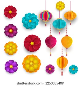Vector Chinese 3d paper cut badges, clouds and sakura flowers. Bright flowers and lanterns. Paper style. Happy New Year 2019