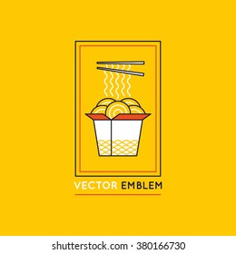 Vector chinese and asian food concepts and logo design elements - cafe and food delivery illustrations in trendy linear style
