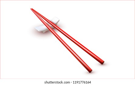 Vector Chinese Chopsticks isolated on white background.