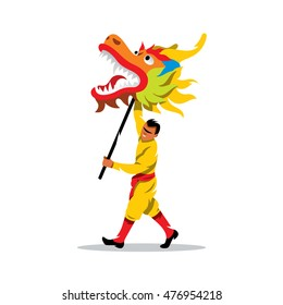 Vector Chinese dragon and man dancing in traditional festival sign. Cartoon Illustration. Boy with head of predator on the stick. Unusual Logo template isolated on a white background