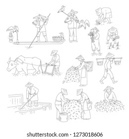 Vector Chinese farmers and fishermen black white line art set people plant rice, grow tea and go fishing. Symbols of asian agricultural culture.