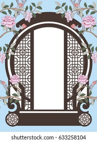 Vector of Chinese frame. Moon Gate, Chinese door style with beautiful flower on blue background.