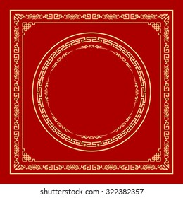 Vector Chinese frame style on red background, illustrations