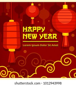 vector chinese happy new year social media banner template with lampion lantern illustration in fun golden red abstract design