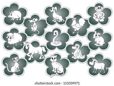 Vector Chinese horoscope animals