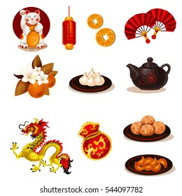 Vector chinese new year icons detailed set. Cartoon style. Colored vector illustration.