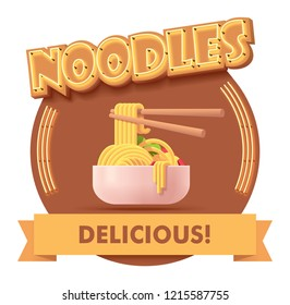Vector Chinese noodles icon with retro neon sign. Illustration or label for fast food restaurant menu