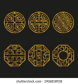Vector chinese ornament in golden color