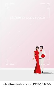 vector chinese style bride and groom standing on pink wall background.chinese concept