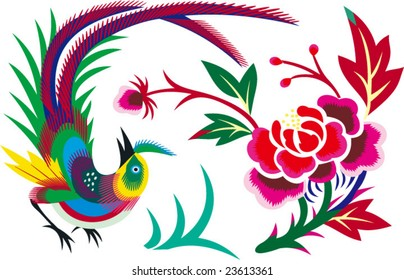 Vector of Chinese Traditional Bird and Flower  Pattern