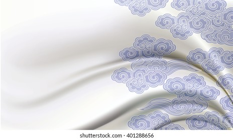 Vector Chinese traditional pattern on Ivory Silk fabric. Background, pattern concept