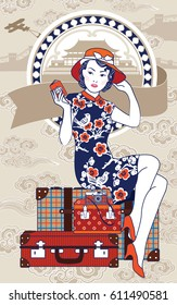 Vector of Chinese Vintage Lady holding her passport sits on retro grunge travel suitcase on Chinese background. Action of Lady Chinese is going to her trip.