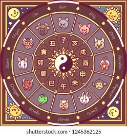 vector chinese zodiac circle. cute astrology horoscope