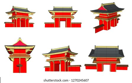 Vector, Chinese-style city, Japanese