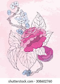 vector chinoiserie peonies on pink background for floral, wedding and scrapbooking design