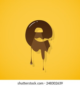 """Vector choco letter """"e"""" over yellow background"""