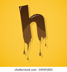 """Vector choco letter """"h"""" over yellow background"""