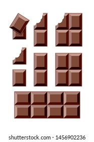 vector chocolate bar pieces isolated on white background. milk chocolate blocks with a bite. eps10 illustration