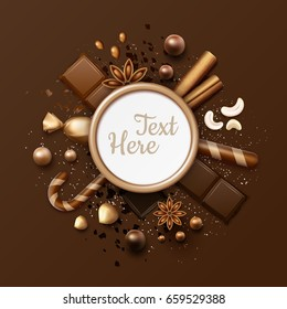 Vector chocolate flat lay frame with ball candies, cinnamon sticks, star anise, nuts, sweets in glossy wrapper, striped lollipops and place for text or copyspace close up top view