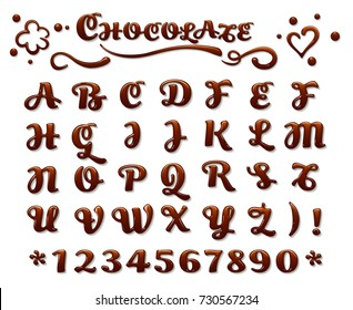 Vector chocolate font. Liquid sweet letters dessert brown melt chocolate latin letters isolated on white background