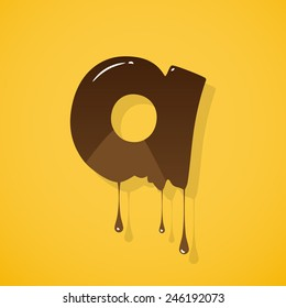 """Vector chocolate letter """"a"""" over yellow background"""