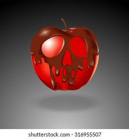Vector of Chocolate shape skull coated red apple. halloween concept.