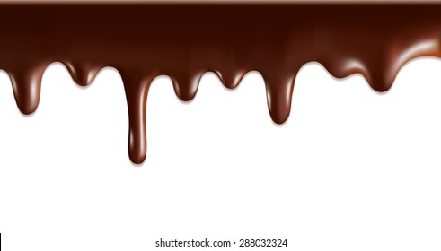 Vector Chocolate syrup drip pattern isolated on a white background