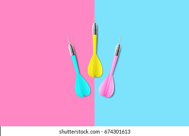 vector choice of target, three dart on a left side pink background with right side blue background, illustration minimalist alternative is concept