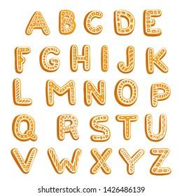 vector chrictmas cookies alphabet, hand drawn illustration, isolated design elements