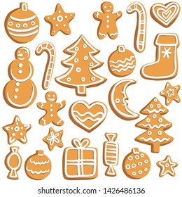 vector chrictmas cookies, hand drawn illustration, isolated design elements