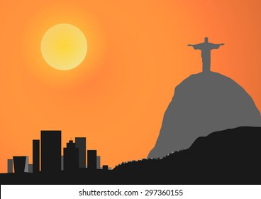 Vector : Christ the Redeemer vector background