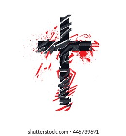 Vector christian cross symbol. Grunge illustration with tattoo styled blackwork and dotwork technique.