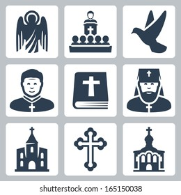 Vector Christian religion icons set
