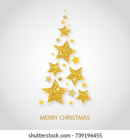 Vector christmas abstract fir tree of shining golden stars. Glowing Glitter background with stars of gold, volumetric design. Xmas and new year invitation template.