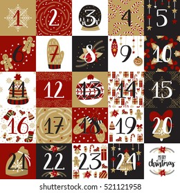 Vector Christmas Advent Calendar with hand drawn festive elements in vintage colors. Holiday posters