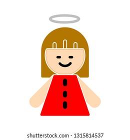 vector christmas angel illustration - holiday icon, xmas symbol - celebration icon